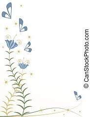 stylizowany, motyle, kwiaty