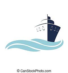 stylizowany, naczynie, symbol, statek, fale