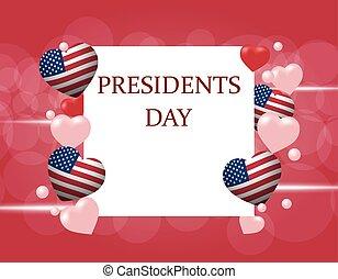 stylizowany, napis, serce, nachylenie, flag., s, ilustracja, day., tło., kolor, prezydent