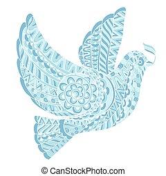stylizowany, oliwka, gołębica, gałąź