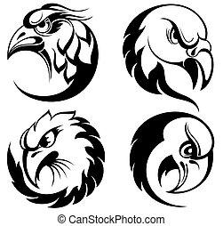 stylizowany, orzeł, głowa, emblemat