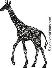 stylizowany, ozdobny, żyrafa, styl, etniczny