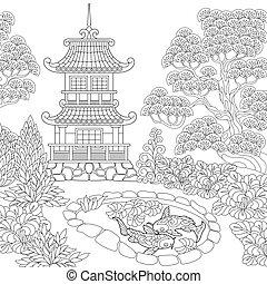 stylizowany, pagoda, zentangle