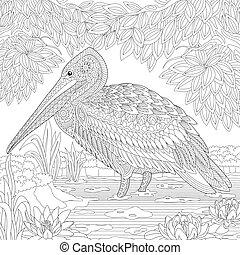 stylizowany, pelikan, ptak, zentangle