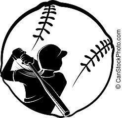 stylizowany, piłka, zbicie, softball