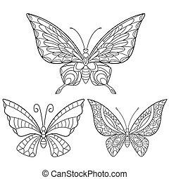 stylizowany, pociągnięty, motyle, komplet, ręka