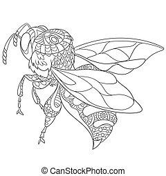 stylizowany, pociągnięty, owad, ręka, pszczoła