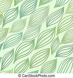 stylizowany, próbka, liście, zielony, seamless