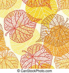 stylizowany, próbka, seamless, leaves., jesień, wektor