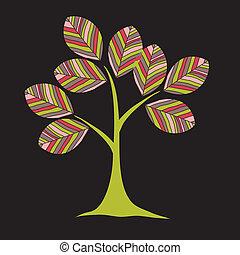 stylizowany, projektować, karta, drzewa
