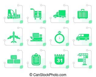 stylizowany, przewóz, logisty, okrętowy, ikony