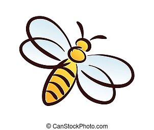 stylizowany, pszczoła, symbol.