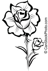 stylizowany, róża, uderzenie, czarnoskóry, logo