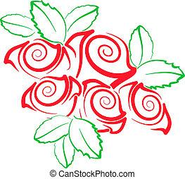 stylizowany, róże