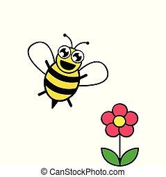 stylizowany, różowy kwiat, pszczoła
