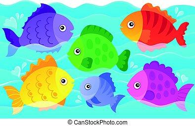 stylizowany, ryby, temat, wizerunek, 4