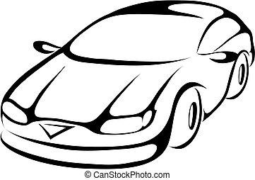 stylizowany, rysunek, wóz