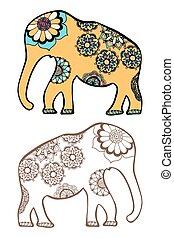 stylizowany, słoń