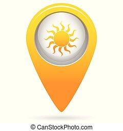stylizowany, słońce, wizerunek, ikona
