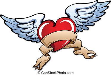stylizowany, serce, 2, skrzydełka