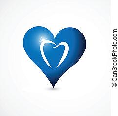 stylizowany, serce, ząb, logo