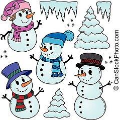 stylizowany, snowmen, temat, rysunki, 1