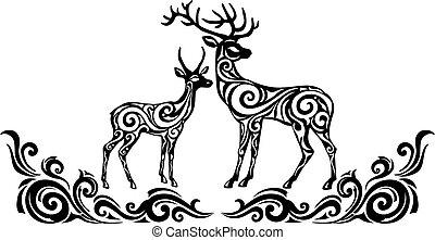 stylizowany, sylwetka, deers