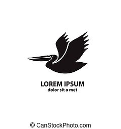 stylizowany, sylwetka, pelican.