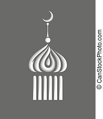 stylizowany, symbol, albo, minaret, ikona