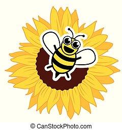 stylizowany, szczęśliwy, słonecznik, pszczoła