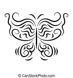 stylizowany, szykowny, dekoracyjny, izolować, motyle