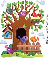 stylizowany, temat, drzewo, ptaszki