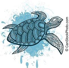 stylizowany, turtle.