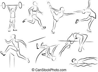 stylizowany, wędkarze, -, atletyka