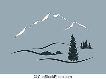 stylizowany, wektor, krajobraz, ilustracja, alpejski