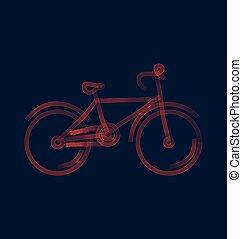 stylizowany, wektor, rower, ilustracja
