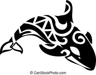 stylizowany, wieloryb, zabójca