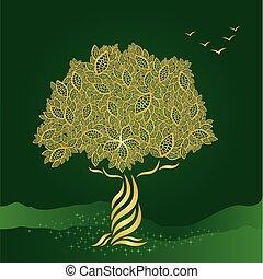 stylizowany, złoty, drzewo