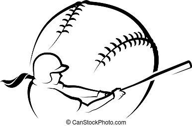 stylizowany, zbicie, samica, softball