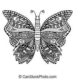 stylizowany, zentangle, butterfly.