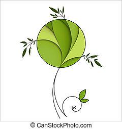 stylizowany, zielone drzewo