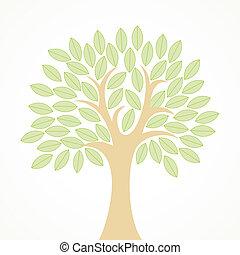 stylizowany, zielone listowie, drzewo