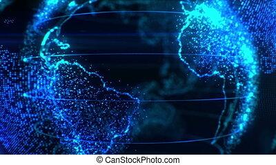 stylizowany, ziemia, w, pixels, w, kilka, videos., świat, w,...