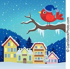 stylizowany, zima, ptak