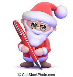 stylo, 3d, santa, écriture