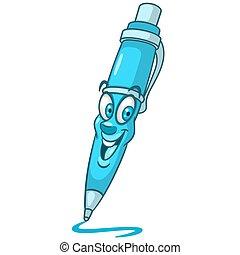 stylo, balle, dessin animé, point