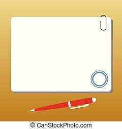 stylo bille, carrée, annonce, pushpin, couleur, texte, ...