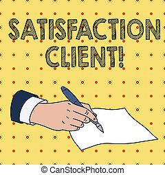 stylo bille, concept, texte, satisfaction, papier, vide, achat, stylo écriture, client., complet, clients, tenue, business, obtenir, main, mot, writing., formel, mâle, avantages, produits, morceau