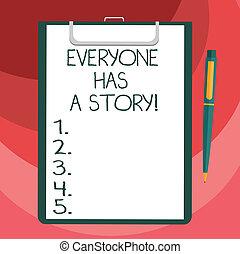 stylo bille, everyone, art conter, texte, signe, papier, vide, déclic, feuille, mémoires, contes, story., stylo, presse-papiers, photo, conceptuel, a, projection, space., fond, dire, ton, lien
