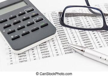 stylo bille, liste, générateur, lunettes, banque, stylo, ligne, bronzage